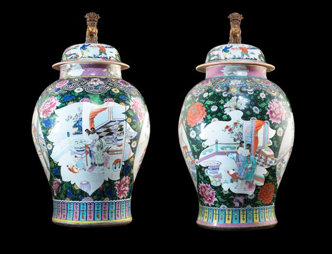 Large Pair Of Chinese Export Porcelain Black Ground Vases Covers