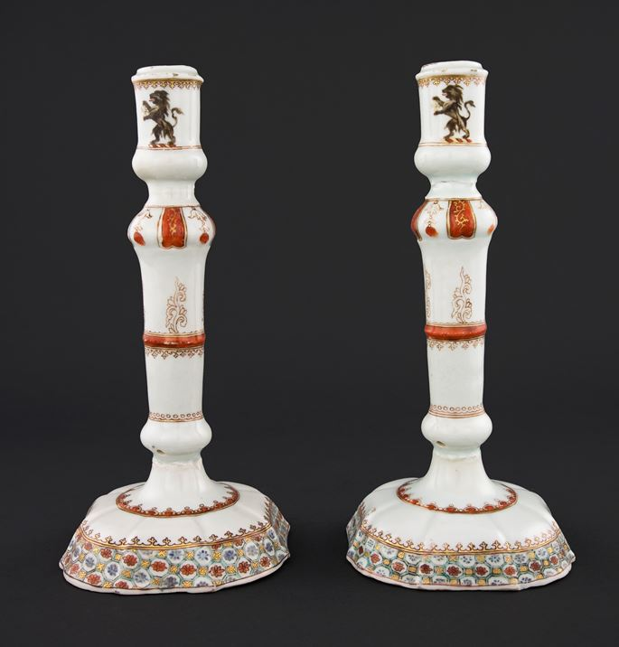 Pair of Chinese export porcelain Armorial Candlesticks, Arms of Chase | MasterArt