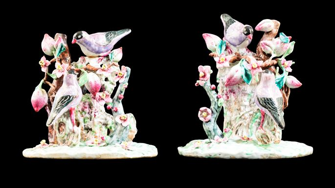 Pair of Chinese export porcelain famille rose figure groups of birds | MasterArt