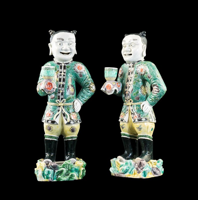 Pair of Chinese export porcelain famille verte figures of boys holding sconces | MasterArt