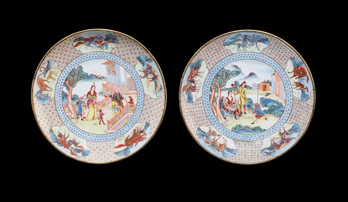 Pair of Painted Enamel on Copper large saucer dishes, with European subject | MasterArt