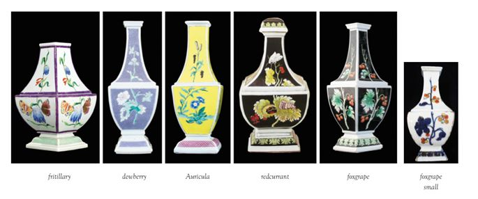 Rare Chinese porcelain garniture of Bottle Vases with black ground from the 'Pronk workshop' | MasterArt