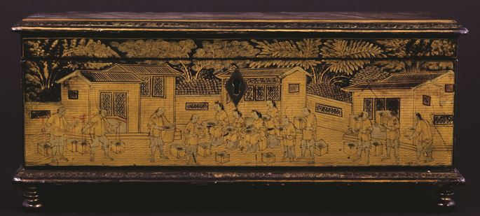 Chinese export lacquer box with tea processing scenes | MasterArt