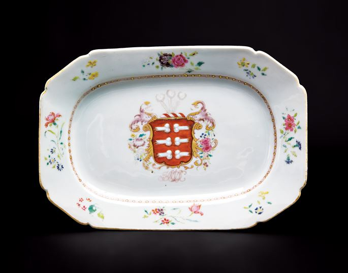 Chinese export porcelain armorial meat dish, arms of mendes da costa | MasterArt