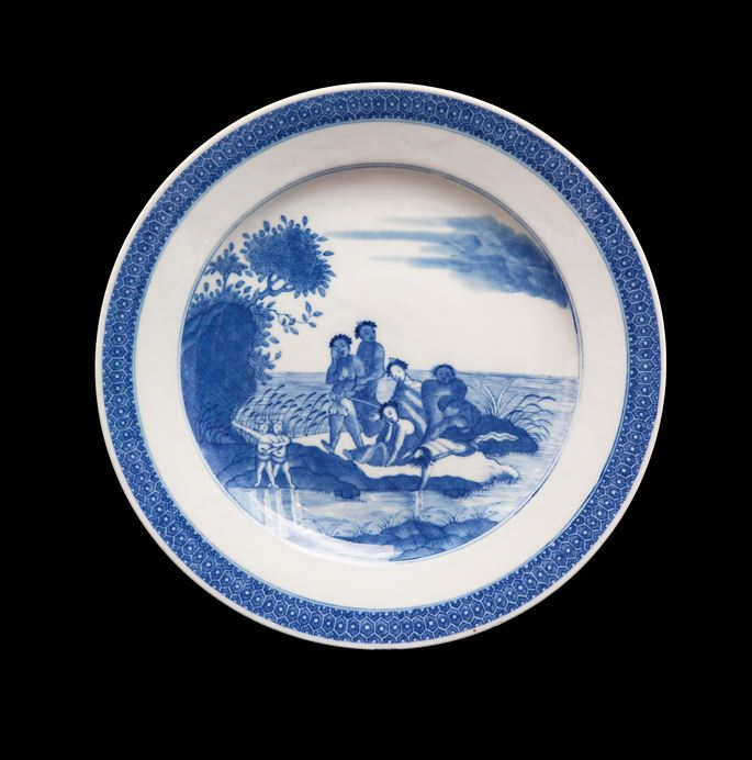 Chinese export porcelain european subject blue and white plate | MasterArt