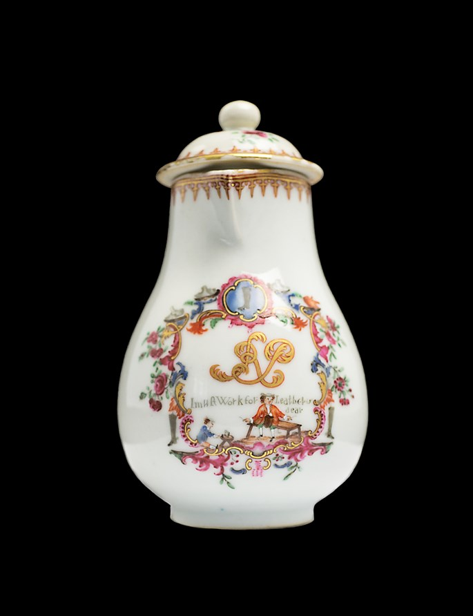 Chinese export porcelain milk jug and cover, advertising label | MasterArt