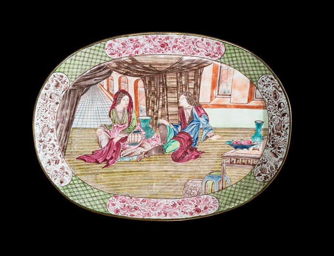 Chinese painted enamel on copper dish with european subject | MasterArt