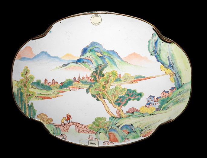 Chinese painted enamel on copper tray, european subject, canton imperial workshop | MasterArt