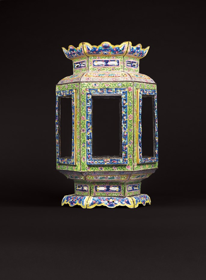 Chinese painted enamel on copper lantern | MasterArt