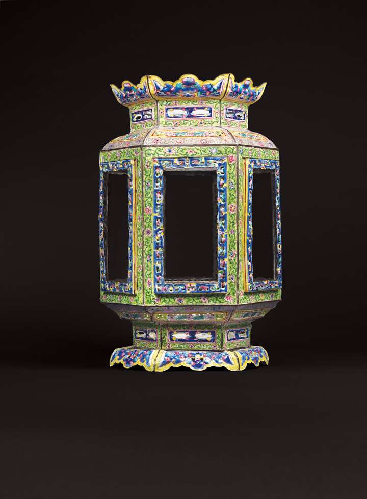 Chinese painted enamel on copper lantern