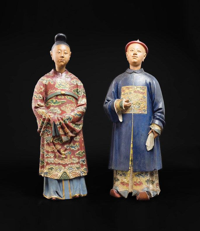 pair of chinese clay nodding head figures | MasterArt