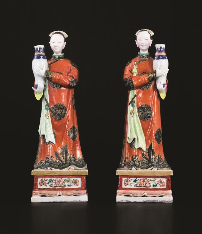 Pair of chinese export porcelain nodding head famille rose figures | MasterArt