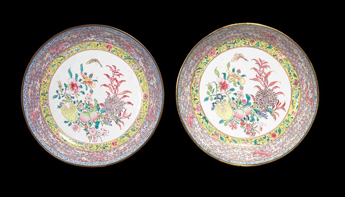 Pair of chinese painted enamel saucer dishes, canton imperial workshop | MasterArt