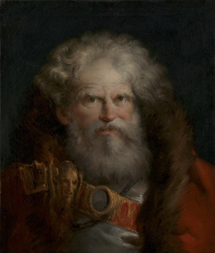 Portrait of an old man with a beard, wearing a fur collared coat