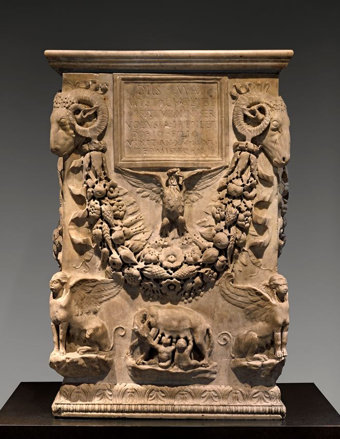 A marble funerary altar inscribed for Mystes and her son Dorius  | MasterArt