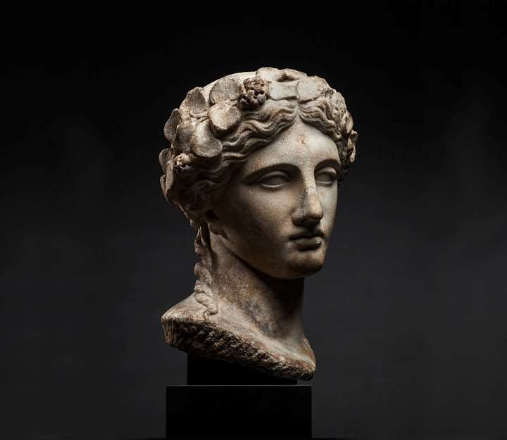 Head of Dionysus Crowned with Ivy Wreath