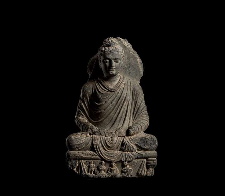 Seated Grey Schist Buddha