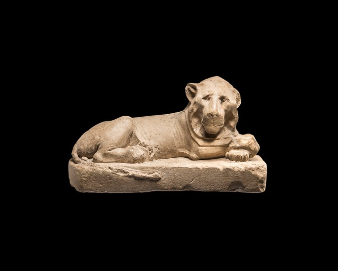 Egyptian statue of a recumbent lion | MasterArt