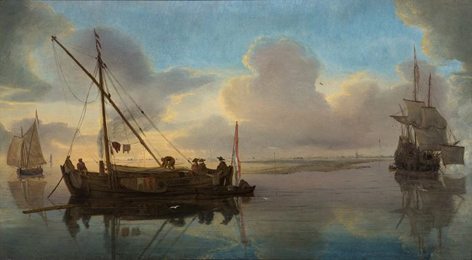 Hans Goderis - A Kaag at anchor in shallow waters, two vessels under sail beyond.  | MasterArt