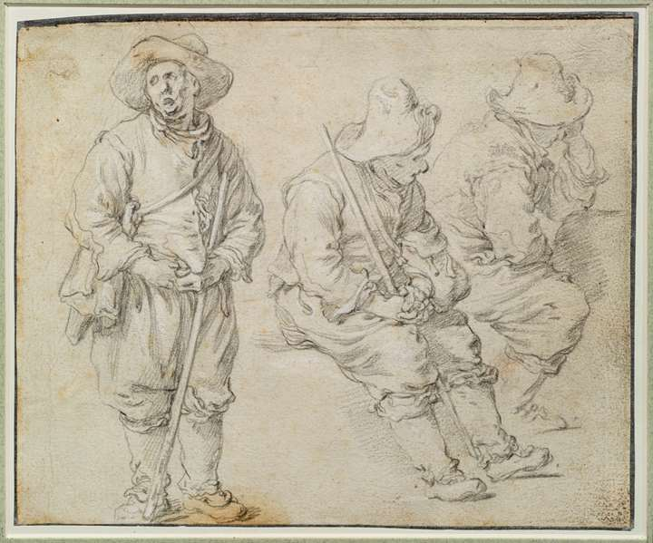 Recto: a sheet of studies of seated woman, seated and standing men, and a peasant couple conversing on a bench.