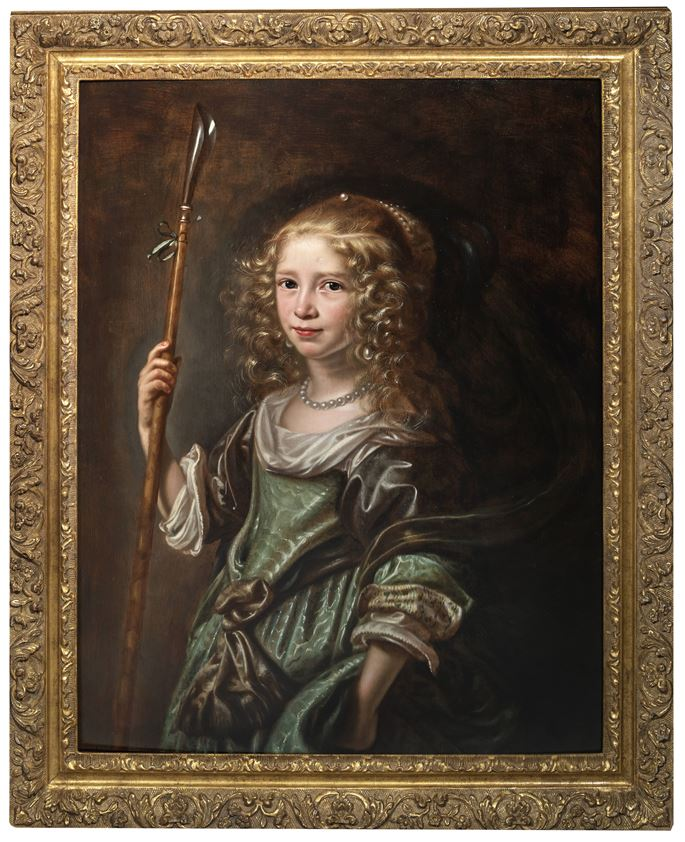 Abraham de Vries - Portrait of a young girl as a shepherdess, half-length, in a green gown, holding a crook.  | MasterArt