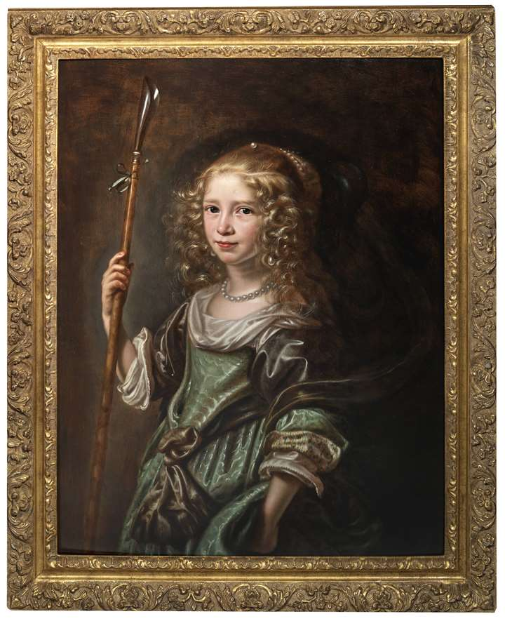 Portrait of a young girl as a shepherdess, half-length, in a green gown, holding a crook.