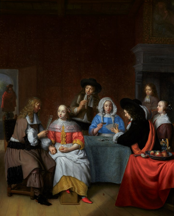 An Interior with an Elegant Company playing cards