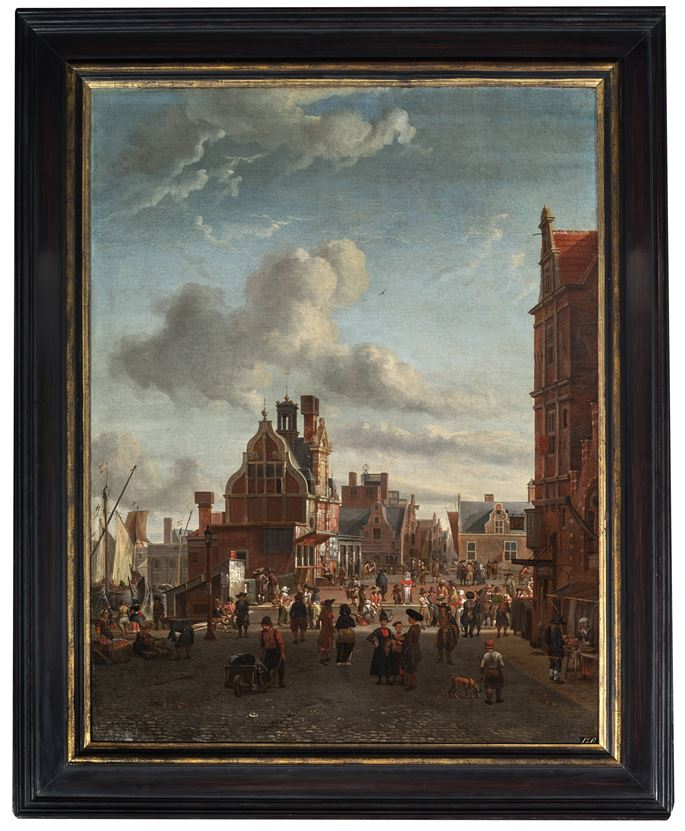 Abraham Storck - A View of Amsterdam with the Paalhuis and the Nieuwe Brug | MasterArt