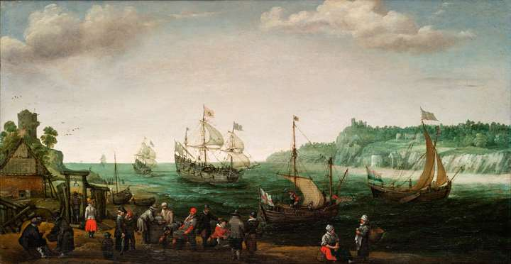 A Man o'war and other shipping in a river estuary, with fishermen bringing in the catch in the foreground.
