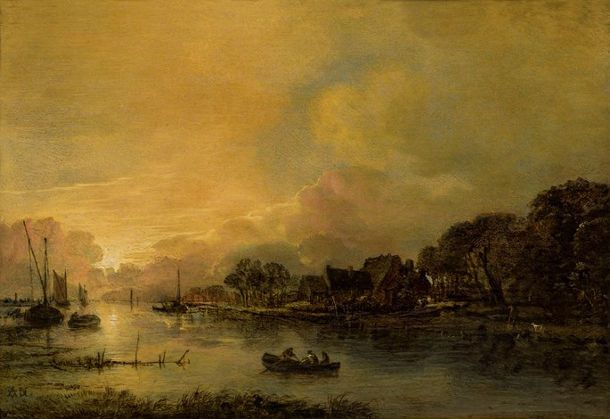 Aert van der Neer - River Landscape at Sunset with a cottage and trees on the right opposite bank.  | MasterArt