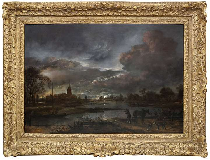 Wide river landscape by moonlight with figures fishing and a village beyond