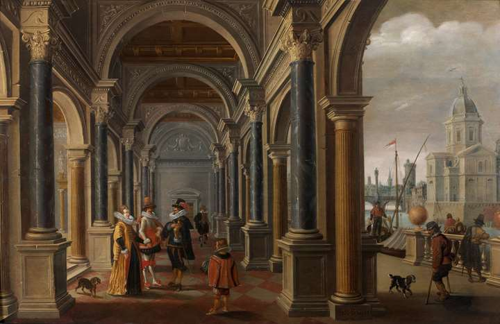An Arcade with elegant Figures, a City View to the right.