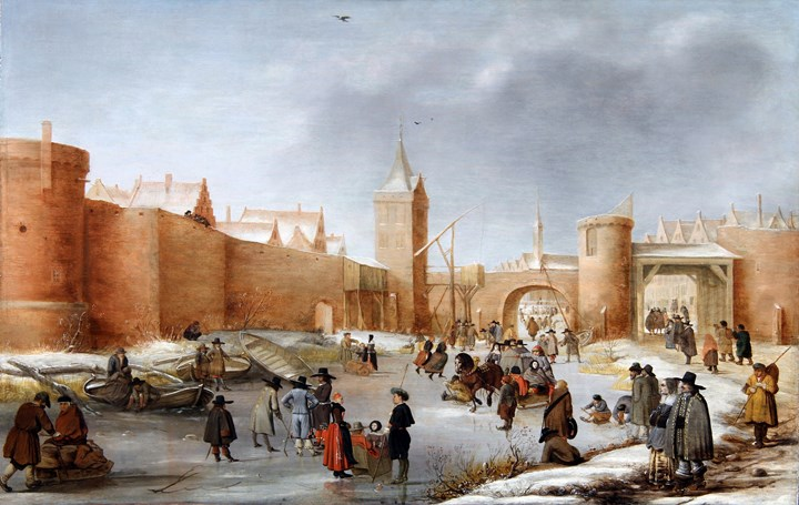 Skaters, Kolf players, elegant ladies and gentlemen, children playing, a horse-drawn sledge and ice-bound boats on a frozen moat, outside the walls of IJsselstein