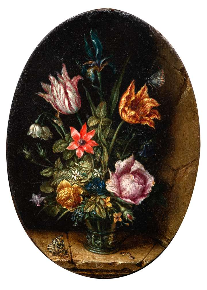 A Still-Life of Flowers in a Glass, with insects upon a stone ledge