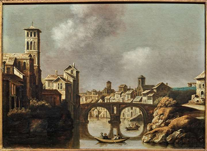 View of the Tiber, Rome, with the Isola Tiberina and the Ponte Fabricio, 1634.