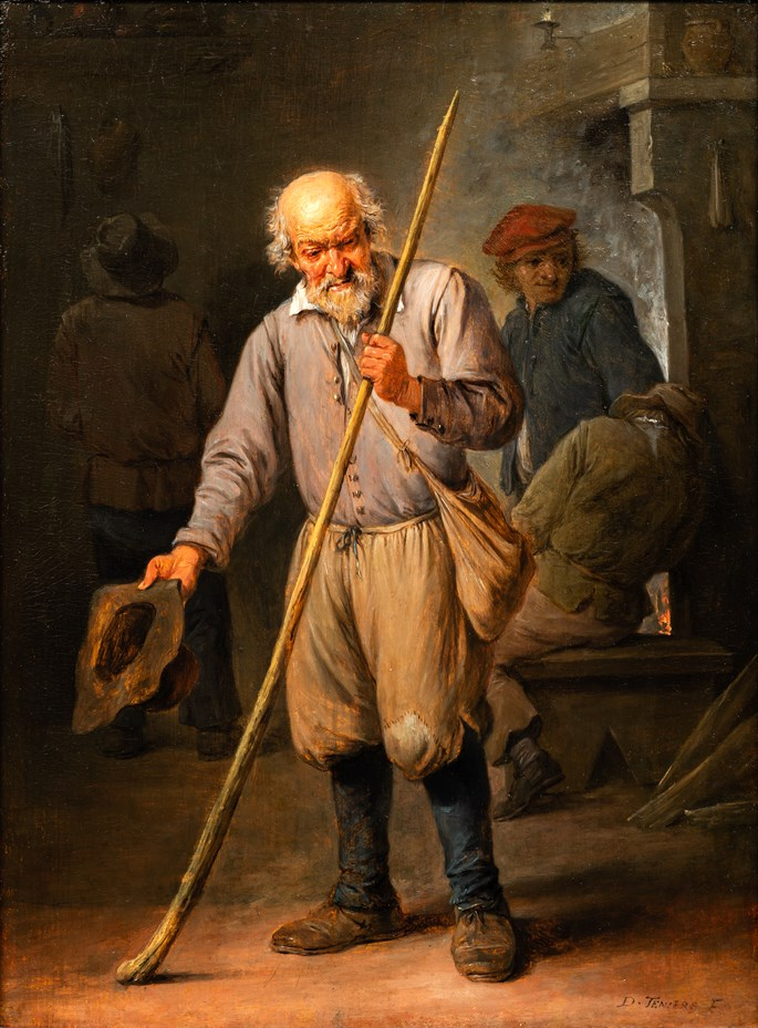 David Teniers The Younger - An old Man holding a Staff, three peasants behind.  | MasterArt
