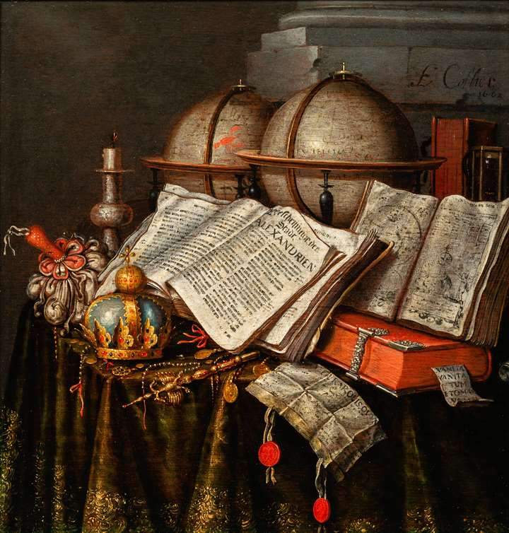 Vanitas with a Crown, two Globes and Books.