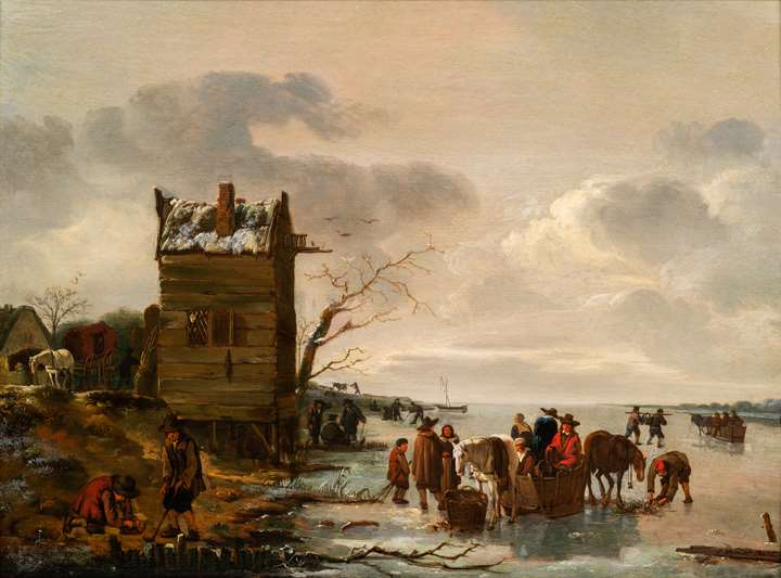 A Winter Landscape with townsfolk on the ice.