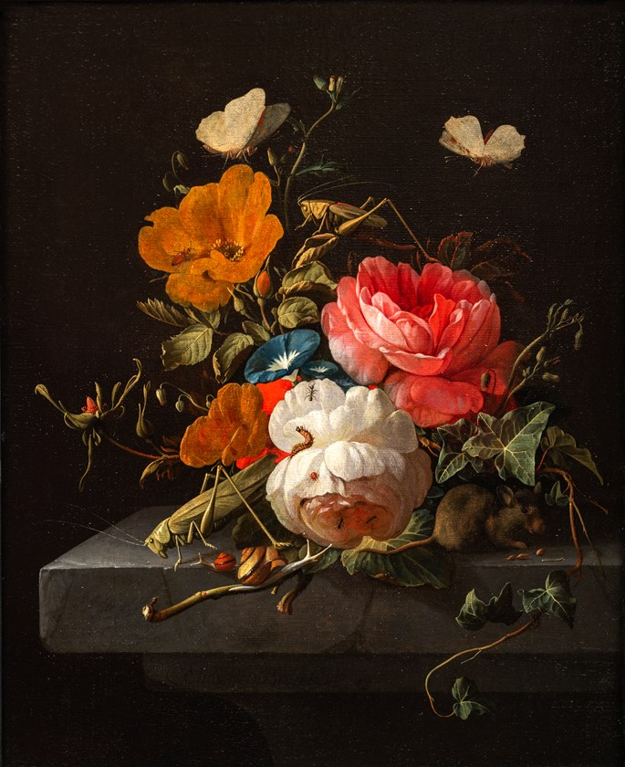 Elias van den Broeck - Still Life of Flowers with Insects and a Mouse.  | MasterArt