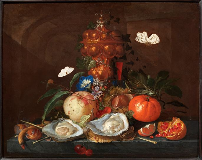 Elias van den Broeck - Still Life with Oysters, Butterflies, Flowers and Fruits | MasterArt