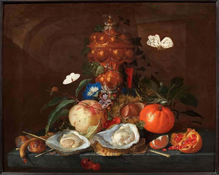 Still Life with Oysters, Butterflies, Flowers and Fruits