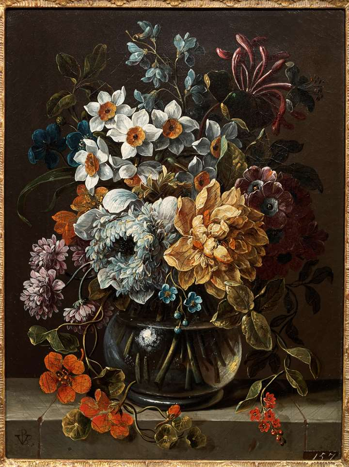 A Vase of Flowers on a stone ledge