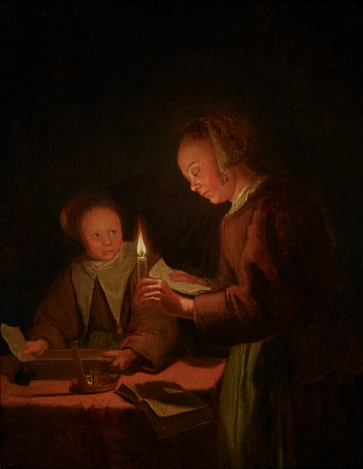 Two maids by candlelight