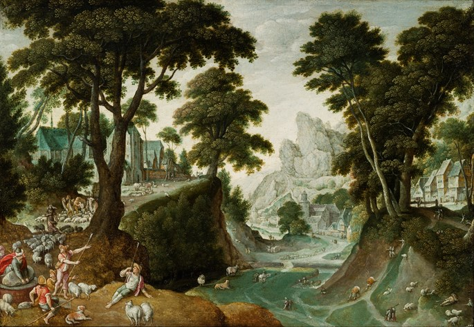 HANS BOL - Mountainous Landscape with the Return of Jacob from Canaan.   | MasterArt