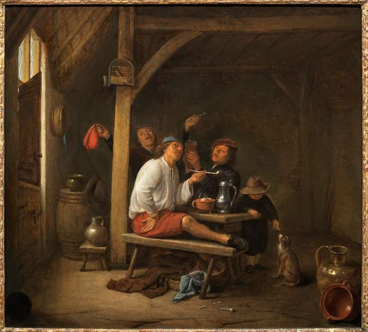 Barn Interior with a Merry Company