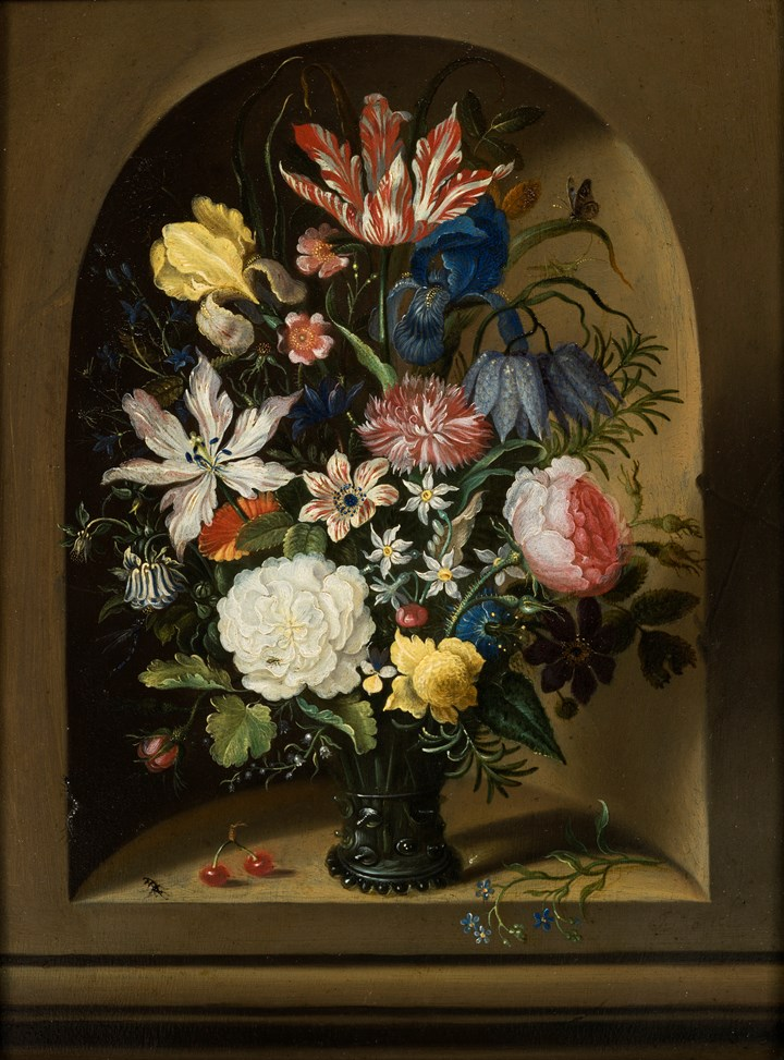 Still Life of Flowers in a Niche with Cherries, insects and a Caterpillar.