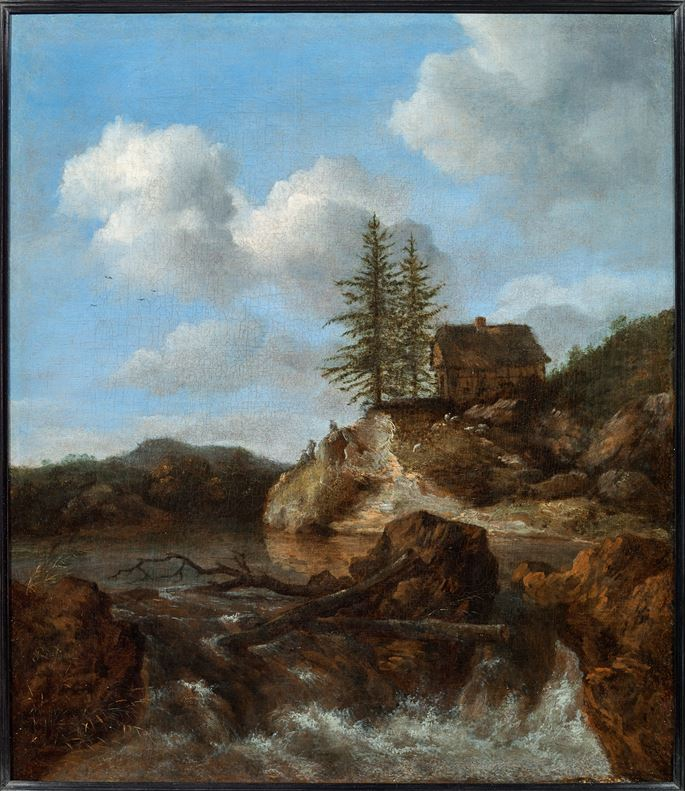 Jacob van Ruisdael - A Scandinavian Landscape with a cataract in the foreground and a cottage on a promontory beyond | MasterArt