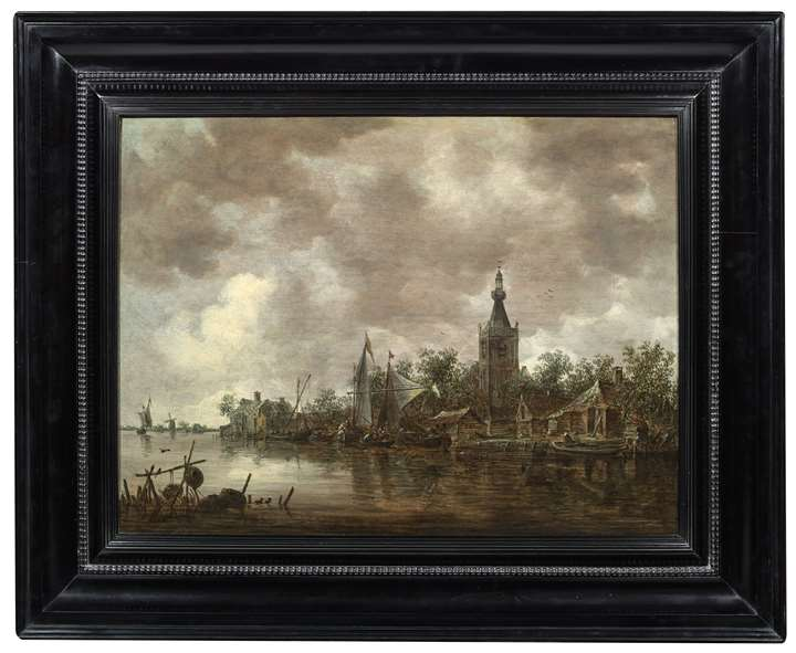 View of Overschie from the river bank with Sailing Boats and other small vessels moored.