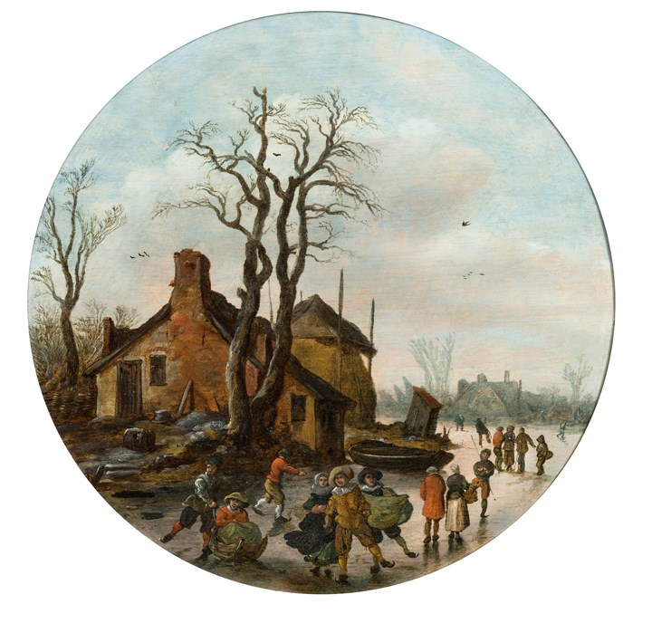 Winter Landscape with skaters on a frozen canal.