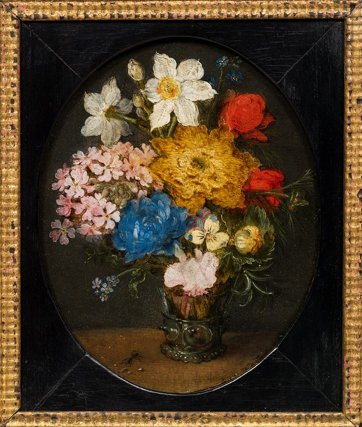 Narcissi, Chrysanthemums, Roses, Forget-me-nots, a Sprig of Rosemary and other flowers in a Roemer with an ant on a table.